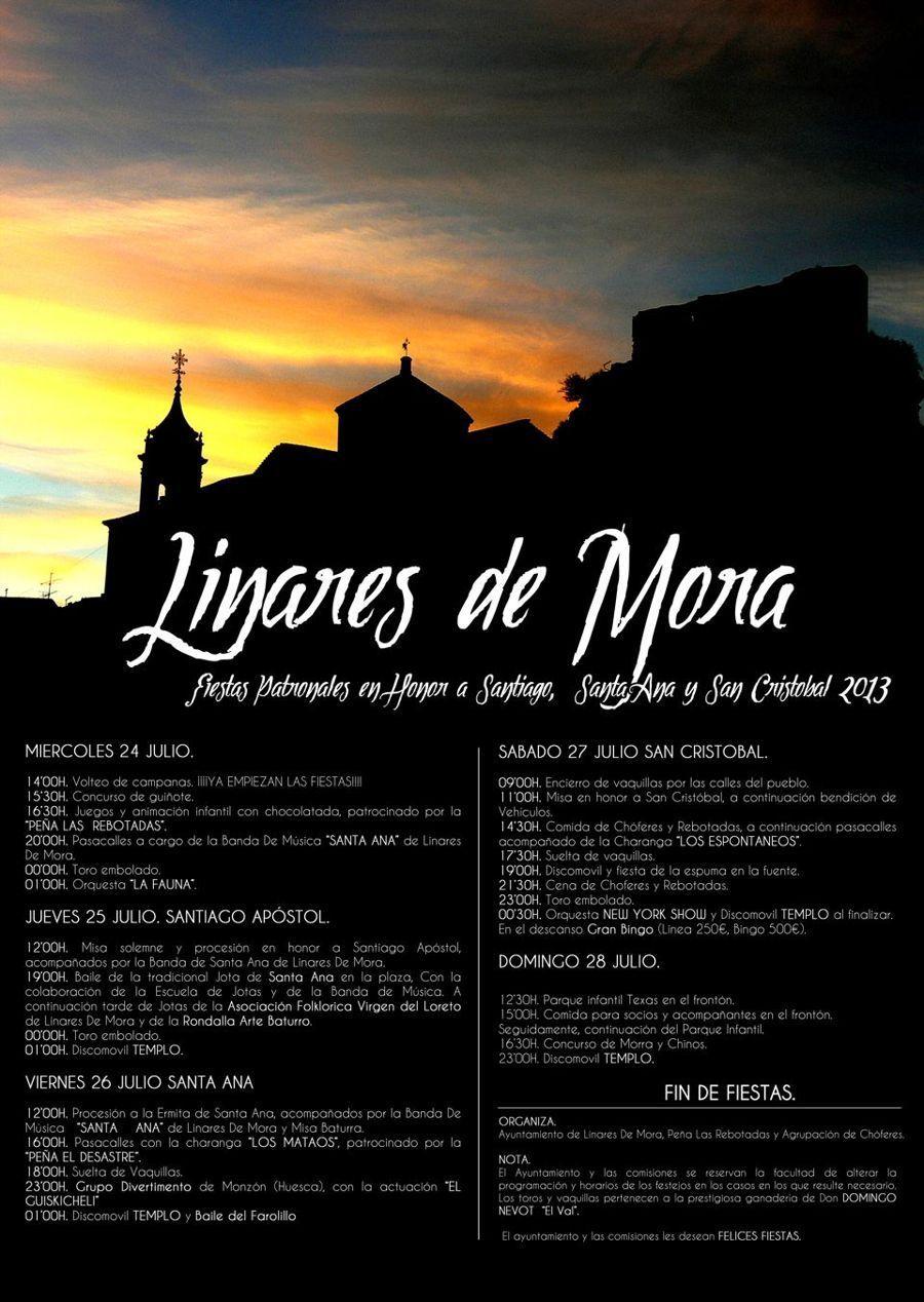 Programa fiestas patronales de Linares de Mora 2013